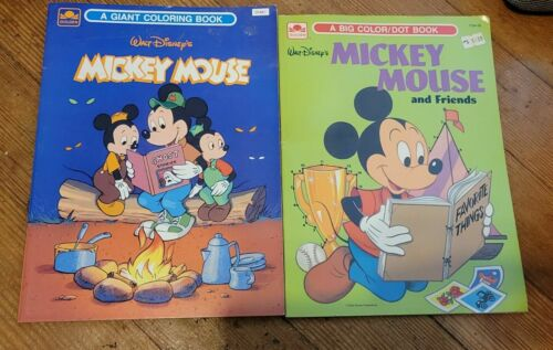 Vintage 1980s Mickey Mouse book Coloring Books (2) both unused