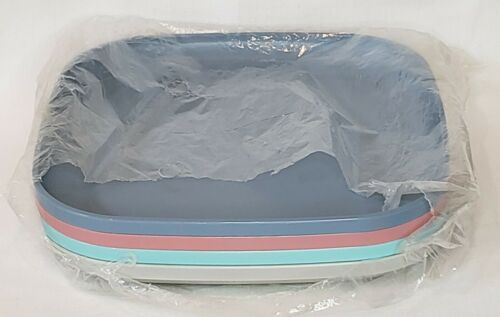 "NEW Tupperware Square Luncheon Plates 8"" Set of 4 Pastel Colors"