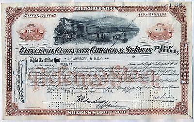 Big Four Cleveland Cincinnati Chicago & St. Louis Railroad Stock Certificate