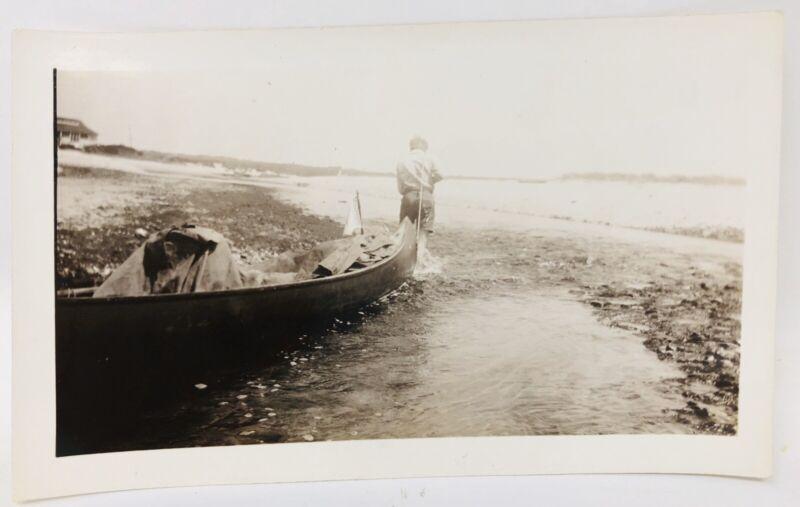 ORIGINAL 1932 Boy Scouts Photo Camp Wading River Boat Canoe Lake Summer Vtg J21