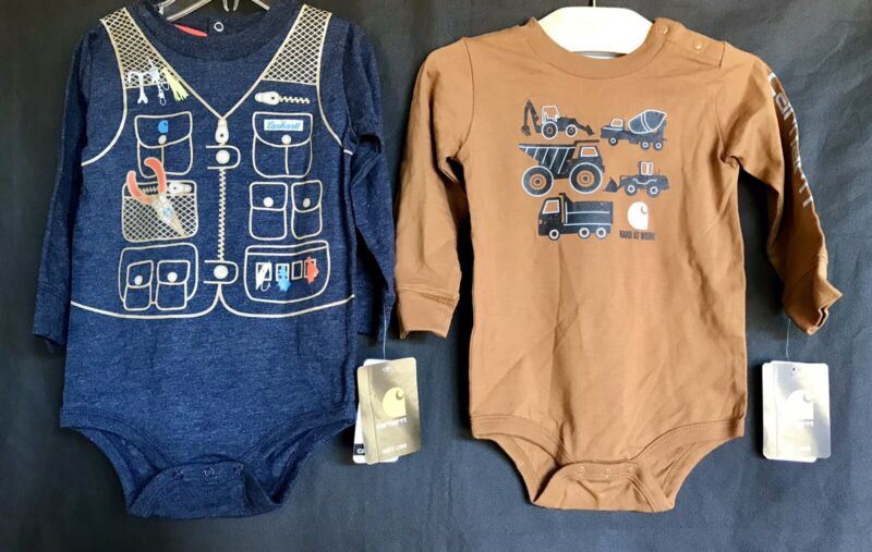 CARHARTT Bodysuits - Brown Tractors & Blue Vest Graphic Tops Baby Boy Size 18 mo