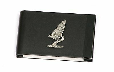 Wind Surfing Design Black Pu And Metal Business Or Credit Card Holder Gift 395