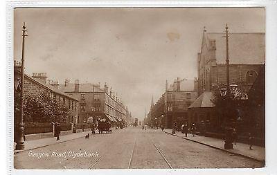GLASGOW ROAD, CLYDEBANK: Dunbartonshire postcard (C20927)
