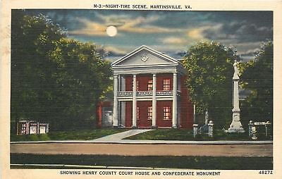 Martinsville Virginia~Henry County Court House~Night Lights~1940s Linen Postcard