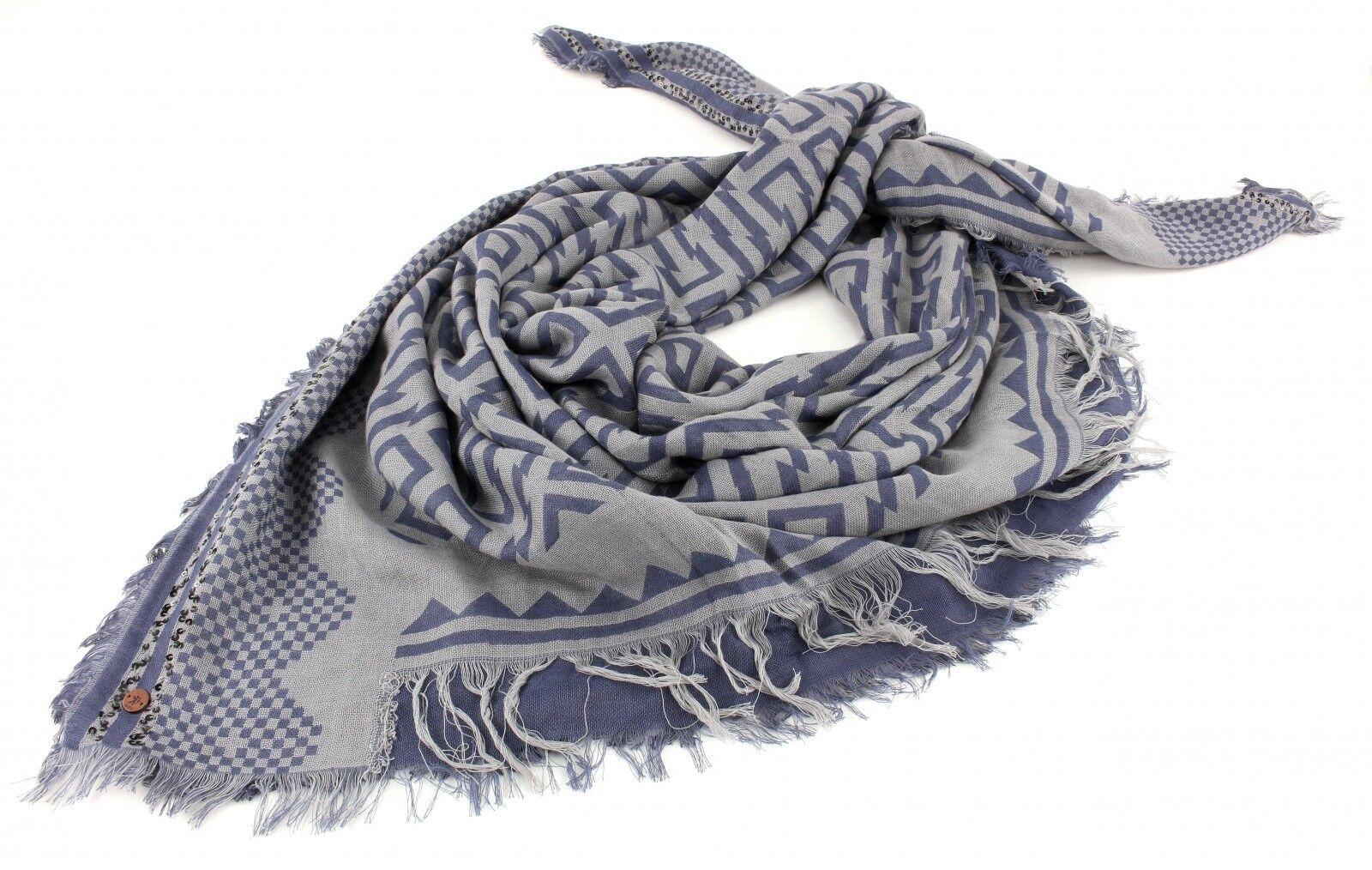ESPRIT edc 2Tone Jacquard Square Scarf Schal Dreieckstuch Grey Blue Blau Grau