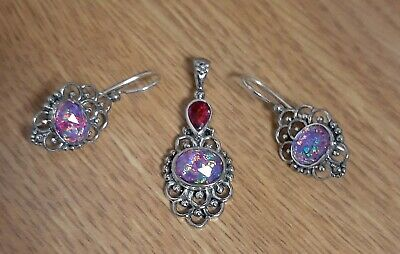 Sajen Pink Fire Opal Quartz Doublet ~Pendant & Earrings Set~ Sterling Silver Lot