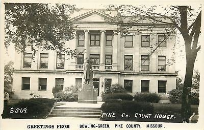 Bowling Green Mo Pike Co Courthouse Champ Clark Statue Real Photo Postcard 1940S