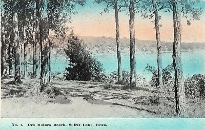 Spirit Lake Iowa~Des Moines Beach~blue Sky & Water @ Sunset~c1910 Postcard