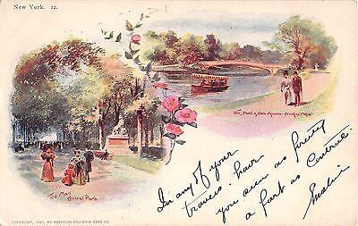 1897 Central Park Mall Lake & Row Ave. Manhattan NY 2-view post card (Manhattan Mall)