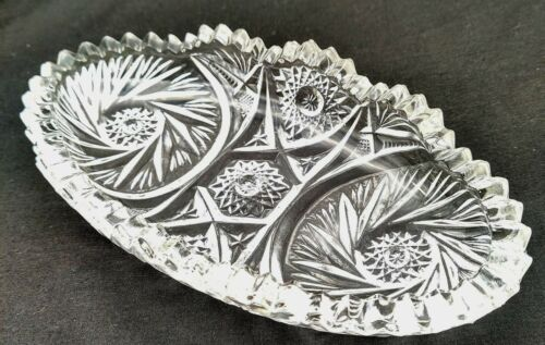 Vintage Imperial Glass Nut Candy Relish Oval Dish Sawtooth Edge Lennox Period