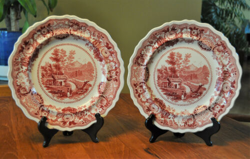 Pair of Antique Staffordshire Red Transferware Plates Adams Conway New Hampshire