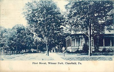 1907 1915 Lithograph Postcard  First Street  Witmer Park  Clearfield Pa Posted
