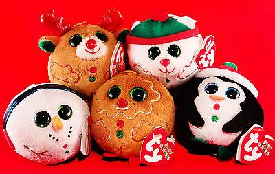 TY beanie Ballz 5x Anhänger Rentier Pinguin Schneemann Eisbär Weihnachtskugel!