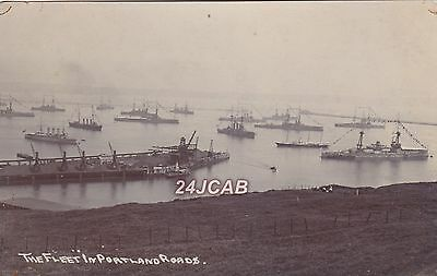 Royal Navy Real Photo RPPC. The Channel Fleet. Portland Roads. Very Rare! c 1905