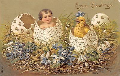 Easter Fantasy~Baby & Chick Both Hatch From Decorated Eggs~Gold Leaf Emboss~1907 for sale  Shipping to Canada