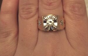 Large gold diamond ring with appraisal