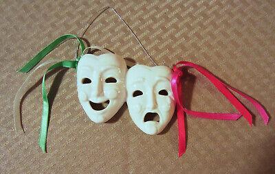 Comedy & Tragedy White Porcelain Masks - Wall Decor