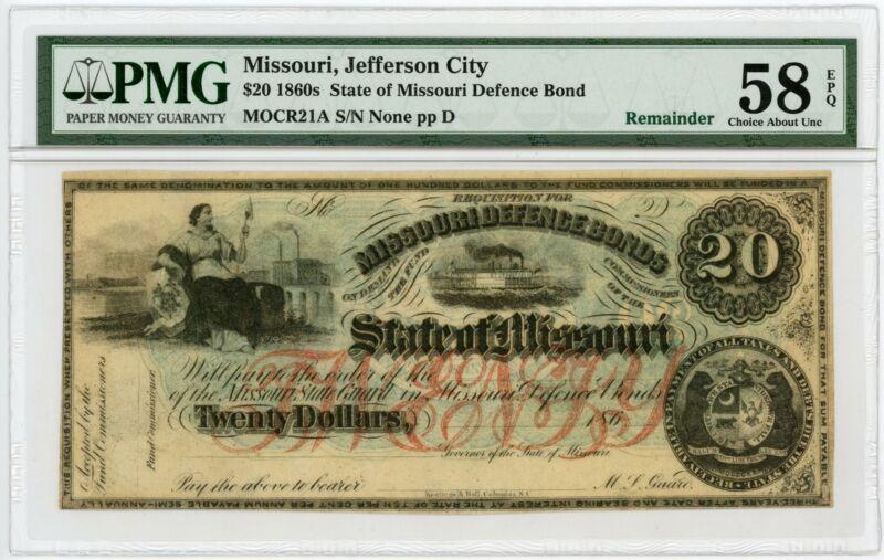 "1860s Cr.21A $20 The State of MISSOURI ""Missouri Defence Bond"" Note - PMG 58 EPQ"