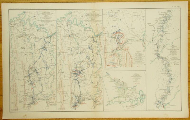 AUTHENTIC CIVIL WAR MAP ~ SHENANDOAH VALLEY CAMPAIGN~SAVANNAH GA. CAMPAIGN-1864