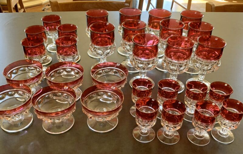 Tiffin Franciscan 1950's Kings Crown Thumbprint Ruby Red Set Of 30 Goblet Glass