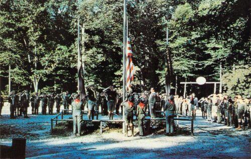 NJ - Camp Winnebago c1960 BOY SCOUTS OF AMERICA Flag Raising postcard BS1
