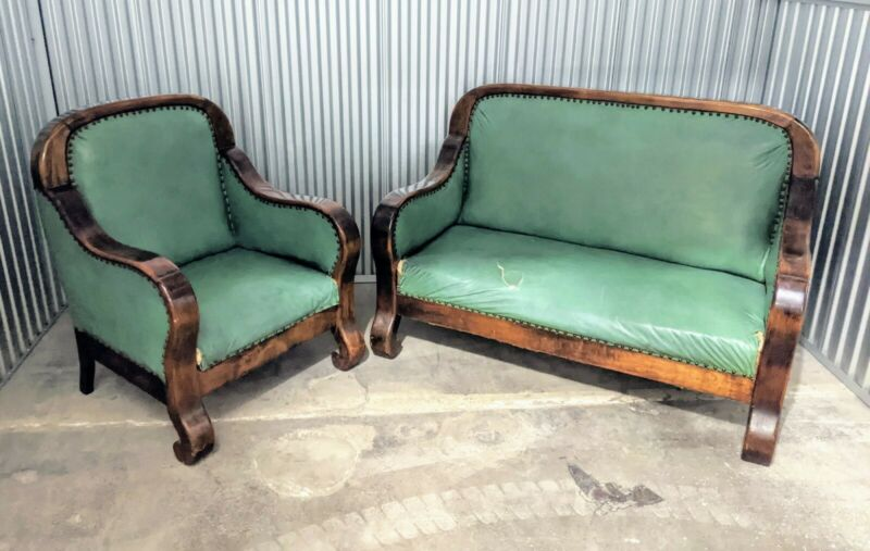 Antique Furniture Empire City And Club Chair Set SCROLL FEET Solid Wood