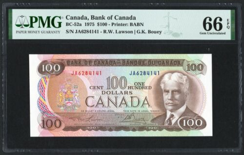 1975 Bank of Canada $100 Banknote, PMG UNC-66 EPQ