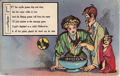 Halloween 1908 cancel drip wax in bowl and see who you will marry. PL55 - Halloween Cancelled