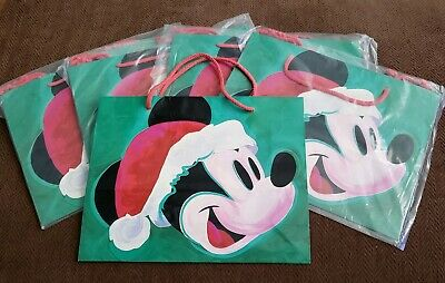 5 Vtg DISNEY GLOSSY CHRISTMAS HOLIDAY GIFT BAG MICKEY MOUSE 13.5""