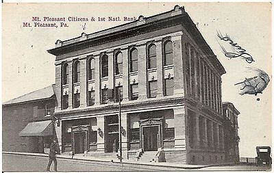 Citizens   1St National Bank In Mt  Pleasant Pa Postcard 1911
