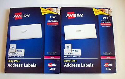 2 Avery 5160 Address Labels 3000 Labels 100 Per Sheet 1 X 2 58 6000 Total