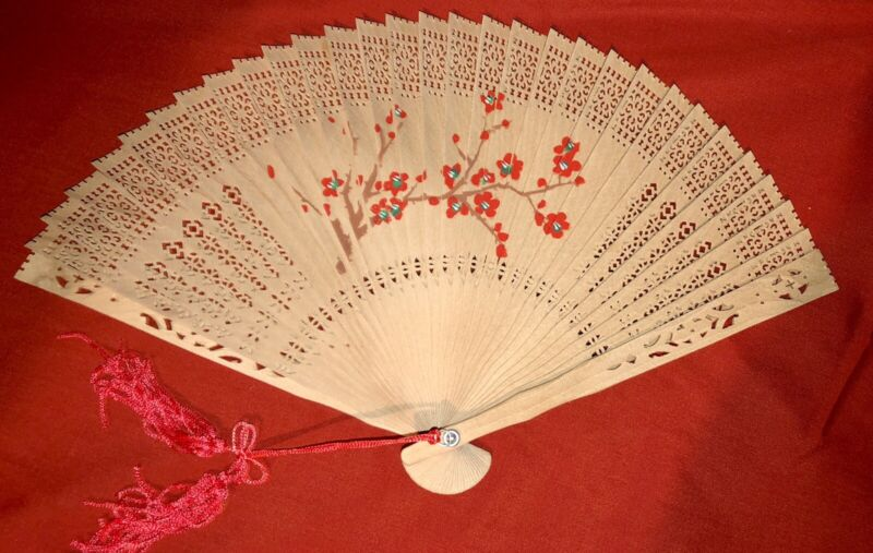 Chinese Wooden Hand Fan w/ Painted Floral Design #4, New