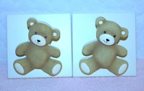 """INFANT BABY SET OF 2 TEDDY BEAR CURTAIN HOLDERS UNISEX 4 1/4"""" x 4 1/4"""" EACH"""