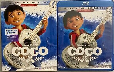 NEW EDITION DISNEY PIXAR COCO BLU RAY DVD DIGITAL 3 DISC SET + SLIPCOVER SLEEVE