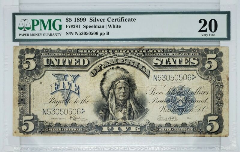 1899 Indian Chief $5 Silver Certificate |  PMG  VF20  -Large Size-  ☆Rare!!☆