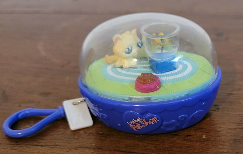 Littlest Pet Shop LPS Kitty Cat & Fish Take-Along Clip-On Action Keychain 2007