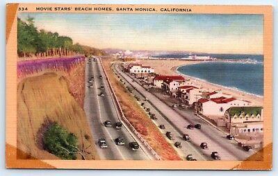 Postcard CA Santa Monica Movie Stars Beach Homes Vintage Linen View Old Cars C5 for sale  Battle Ground