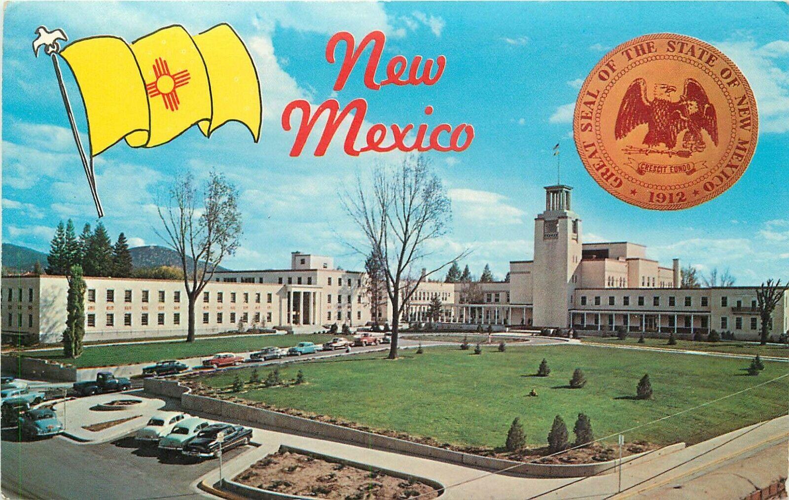 Chrome Postcard New Mexico H586 New Mexico State Flag Seal Capitol Santa Fe Ebay