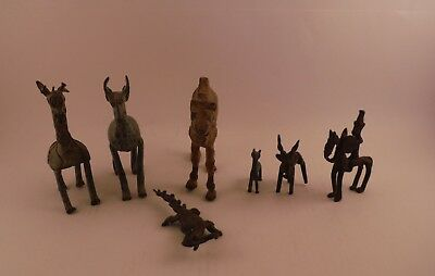 Collection of 7 Antique Antiquities Bronze Animal Figures African Primitive