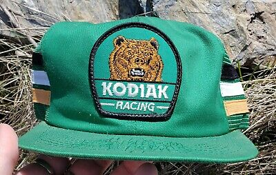 Vtg 70's 80's K Products Brand 3 Stripe Kodiak Racing Snapback Hat