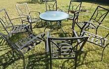 Glass and Aluminium Circular Outdoor Garden Table With 8 Chairs Blacktown Blacktown Area Preview