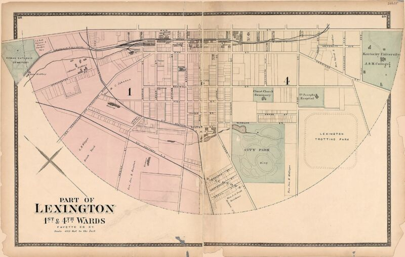 1877 Atlas BOURBON Fayette Jessamine Woodford county KENTUCKY plat map DVD P65