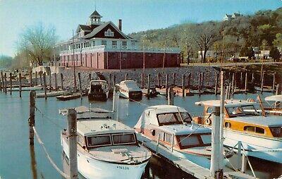 Illinois Valley Yacht & Canoe Club Boats In Harbor Scene Peoria,IL Vtg Postcard
