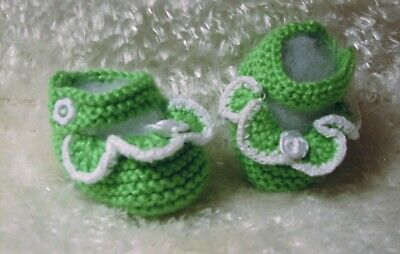 Baby Booties Socks Shoes Handmade Hand Knit,green Knitting Baby Socks