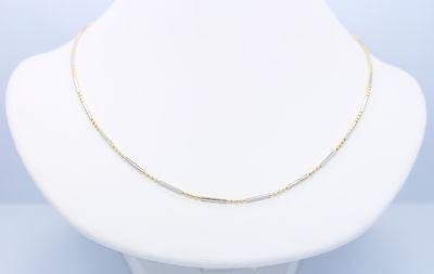 Beautiful Necklace Alternating Links 14k White Gold bars & Yellow Gold Beads  Gold Alternating Bead Chain