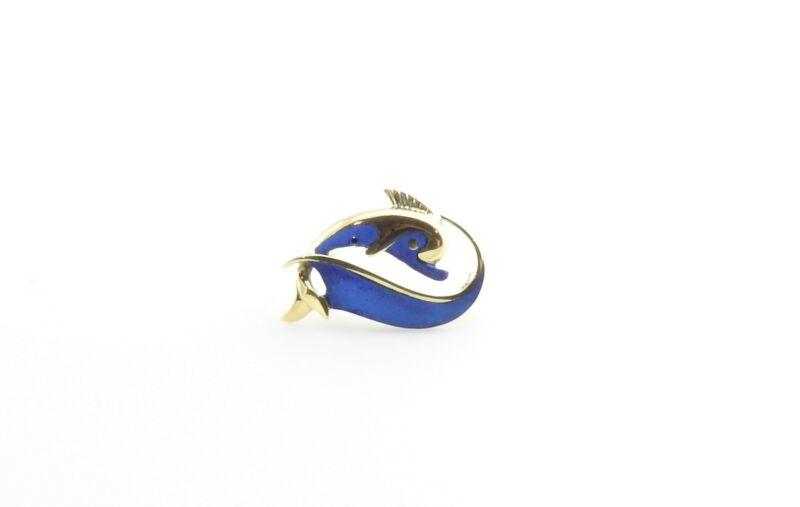 Vintage 18 Karat Yellow Gold and Blue Enamel Dolphin Brooch / Pin #7078