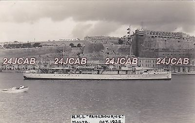 "Royal Navy Real Photo RPPC. HMS ""Pangbourne"" Minesweeper. At Malta. Rare! 1938"