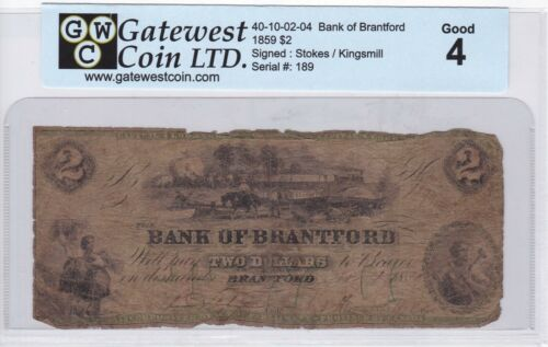 BANK OF BRANTFORD 1859 $2