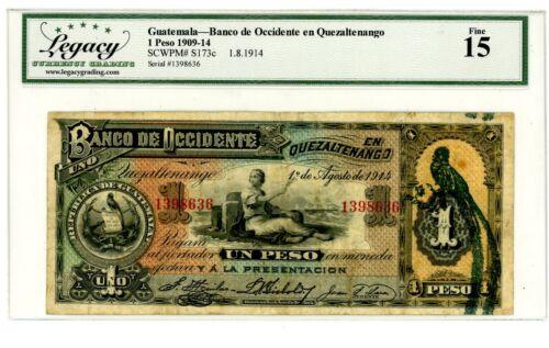 Guatemala ... P-173c ... 1 Peso ... 1.8.1914 ... *F+*.