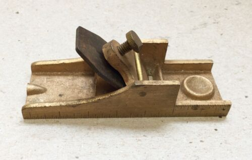 "VINTAGE 3 1/2"" BRASS GRADUATED DENTAL PLANE BY S.S. WHITE"